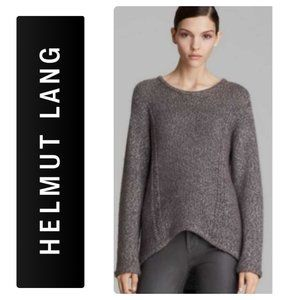 Helmut Lang Grey Cable Knit High/Low Sweater-S